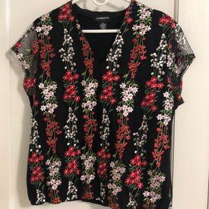 Liz Claiborne flower embroidered shirt